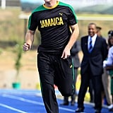 Prince Harry running in Jamaica.