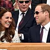 They cracked each other up during a July 2014 Wimbledon tennis match.