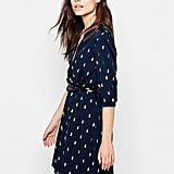 Yumi Belted Dress With 3/4 Sleeve In Cactus Foil Print ($41)