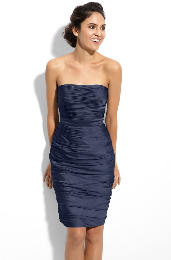 This ML Monique Lhuillier Ruched Strapless Cationic Chiffon Bridesmaids Dress ($188) may have been crafted with a bridesmaid in mind, but the sophisticated strapless cut makes it a great option for any wedding guest, too.
