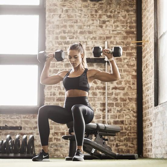 Kelsey Wells Back and Shoulder Workout Band and Dumbbells