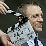 Daniel Craig smiles on the set of Skyfall.
