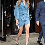 Gigi Hadid Denim Shorts Suit With Silver Shoes and Bag