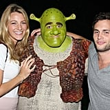 Blake Lively and Penn Badgley took a break from the set to see Shrek the Musical on Broadway in May 2009.
