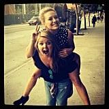 Hilary Duff got a piggyback ride. Source: Instagram user hilaryduff