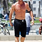 Kellan Lutz took a break from jogging and hit the sand.