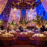 Multi-dimensional centerpieces, creating uplighting, and fabric draping create a modern, elegant feel.