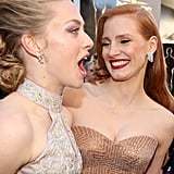 Amanda Seyfried goofed around with Jessica Chastain.