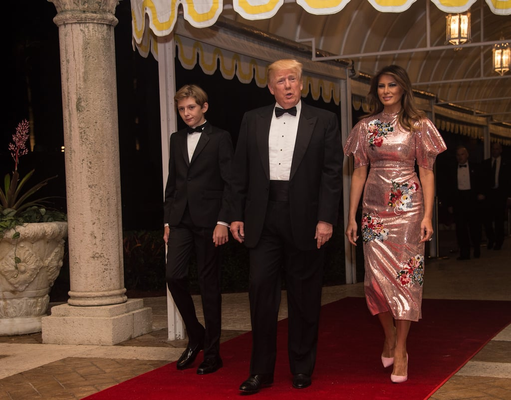 Melania arrived in a sparkly pink Erdem dress for the Trump family's New Year's Eve party in December 2017.