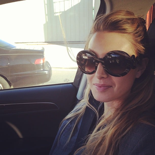 Whitney Port's hair got stuck in a car door. Source: Twitter user whitneyEVEport