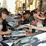 Jessica Biel signed autographs outside of the Total Recall premiere in LA.