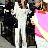 Angelina Jolie helped Jane Pitt out of their car.