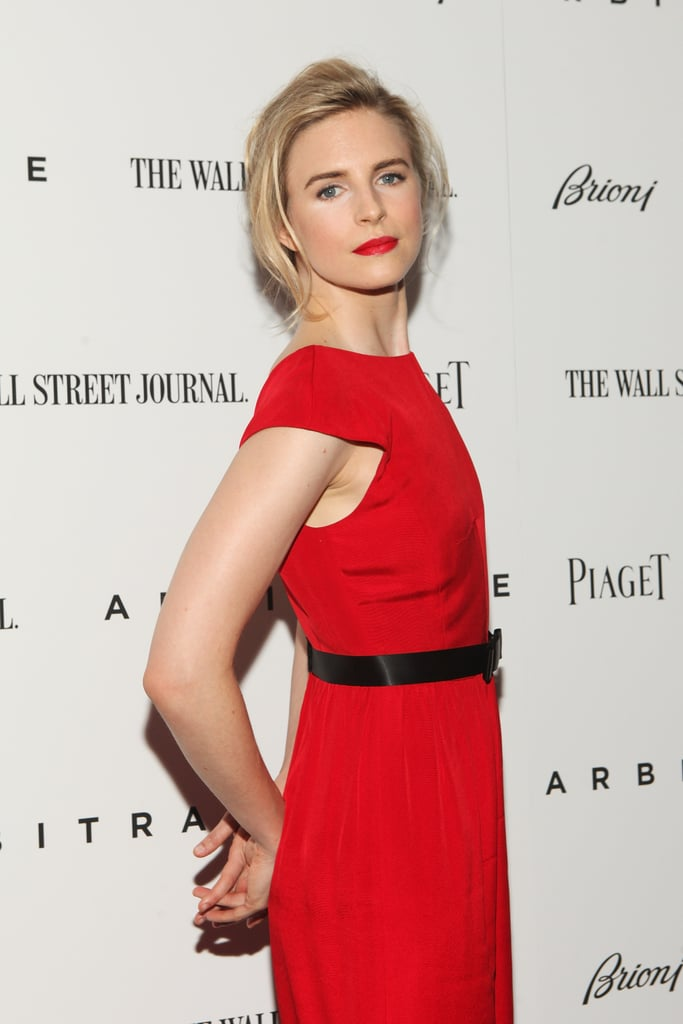 Brit Marling struck a pose in a red gown at the Arbitrage premiere in NYC.
