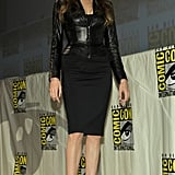 There was a lot of excitement as Angelina Jolie arrived in Versace to promote Salt.