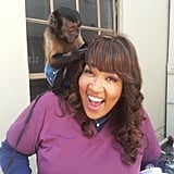 Kym Whitley monkeyed around on the set of Animal Practice. Source: Twitter user kymwhitley