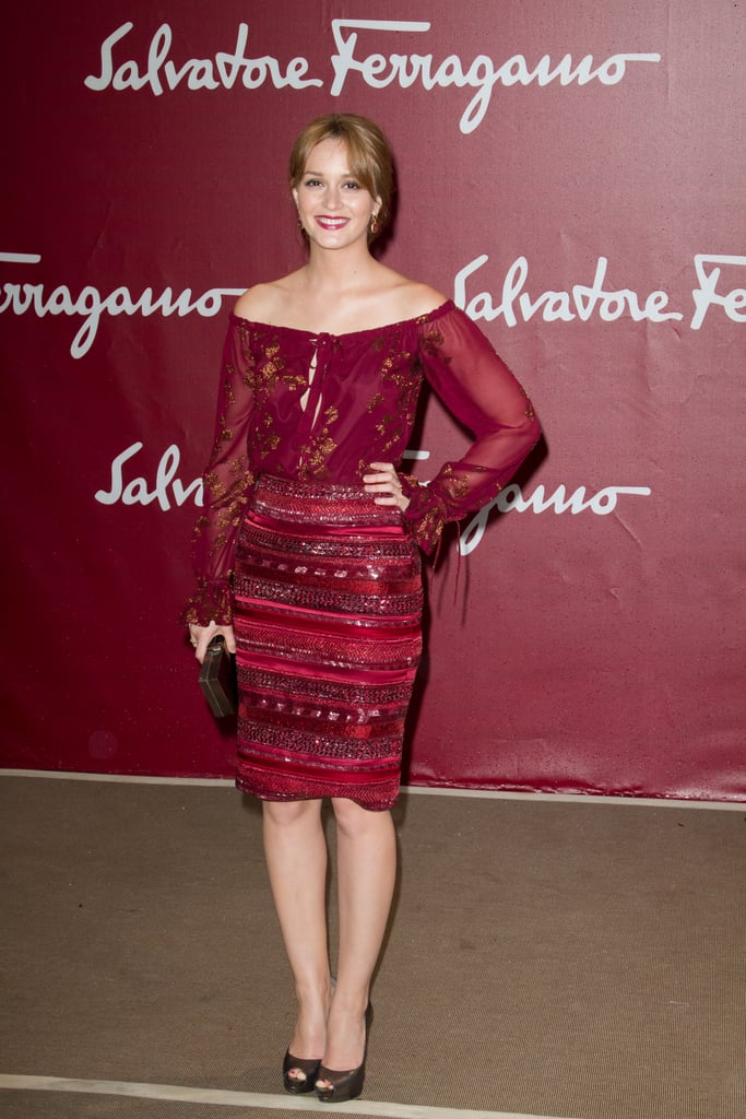 Leighton Meester posed at the Salvatore Ferragamo Resort collection show in Paris.