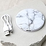 In Charge White Marble Power Charger