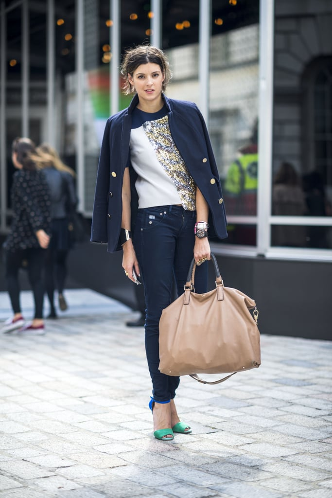 Denim downplays the glitz on her tee — the skinny silhouette looks even better with sky-high heels. Source: Le 21ème | Adam Katz Sinding