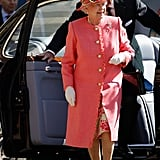 Queen Elizabeth exited the car with Prince Philip in Birmingham during a visit for the Diamond Jubilee in July.