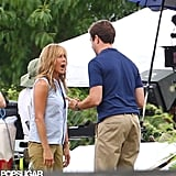 Jennifer Aniston Flashes Her Abs in a Bra on Set