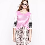 In a shot of pink, the effect of these stripes is ultrafresh, especially when you mix them into your workwear.  J.Crew Garment-Dyed Colorblock Stripe Top ($50)
