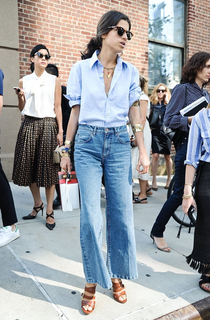 Style a Blue Top With Wide-Leg Jeans