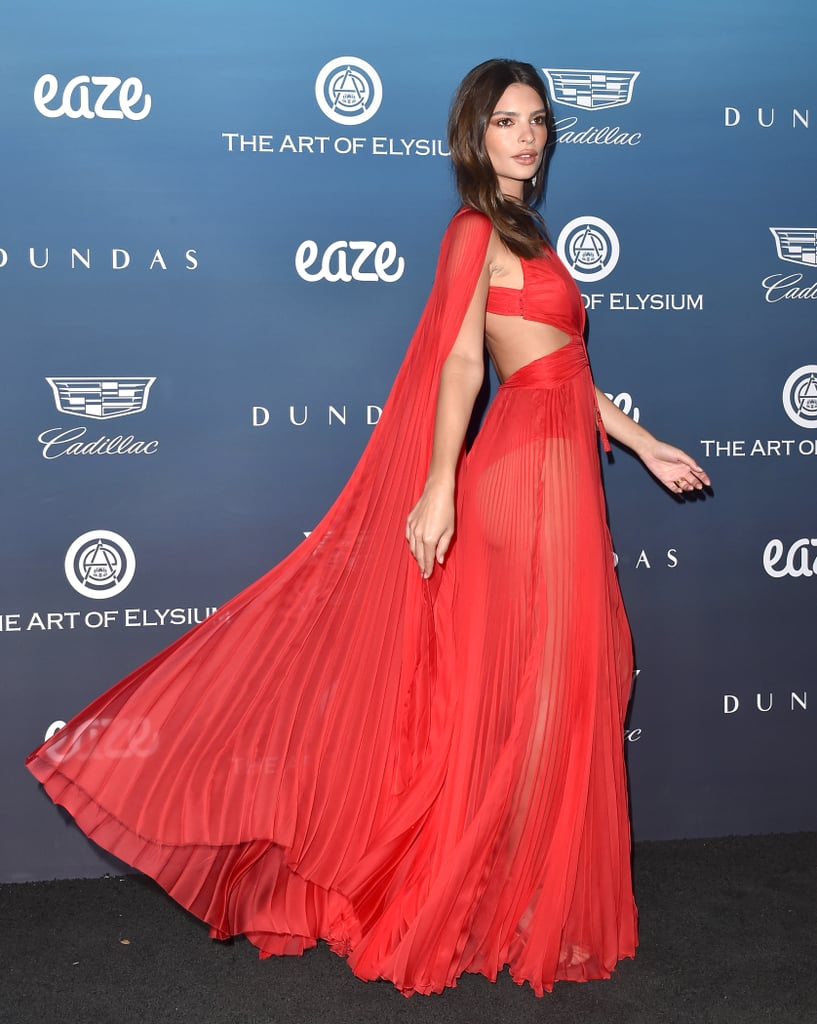 Emily Ratajkowski Red Dress at Art of Elysium Heaven Gala