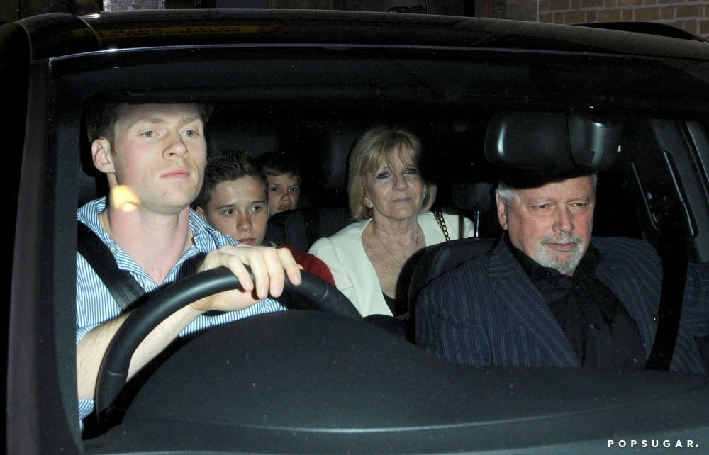 Brooklyn and Romeo Beckham rode home with grandparents Jackie and Anthony Adams.