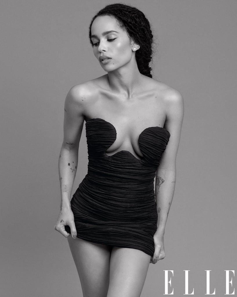 Zoë Kravitz's Sexy Black Minidress on Elle's February Cover