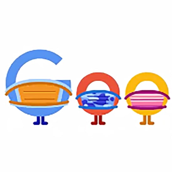 Google Doodle of Letters Wearing Masks and Social Distancing