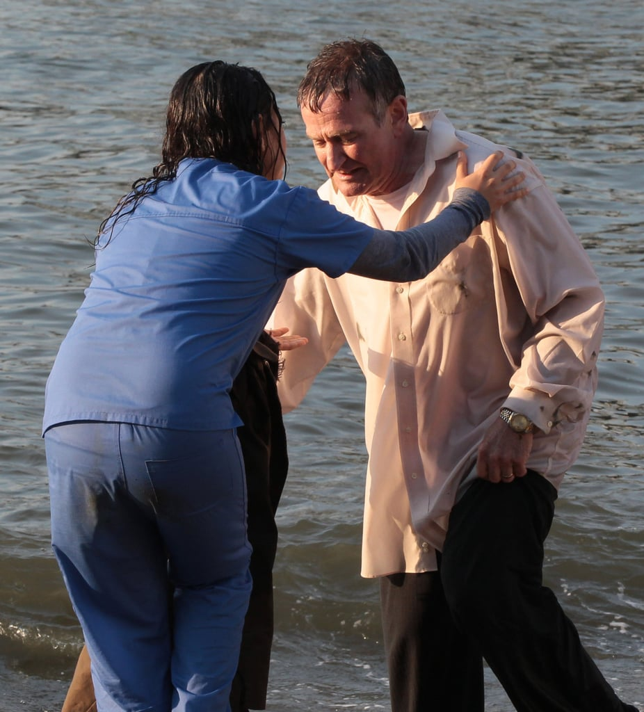 Mila Kunis and Robin Williams braved the water while filming.