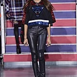 Joan Smalls wore leather skinnies with a glittering crop top.