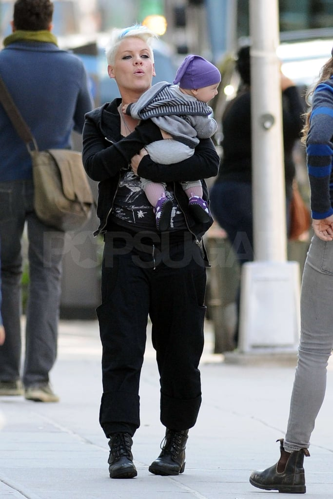 Pink carried Willow Hart to her trailer.