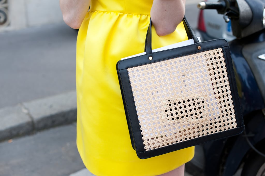 A fresh, woven satchel livened up a day dress.