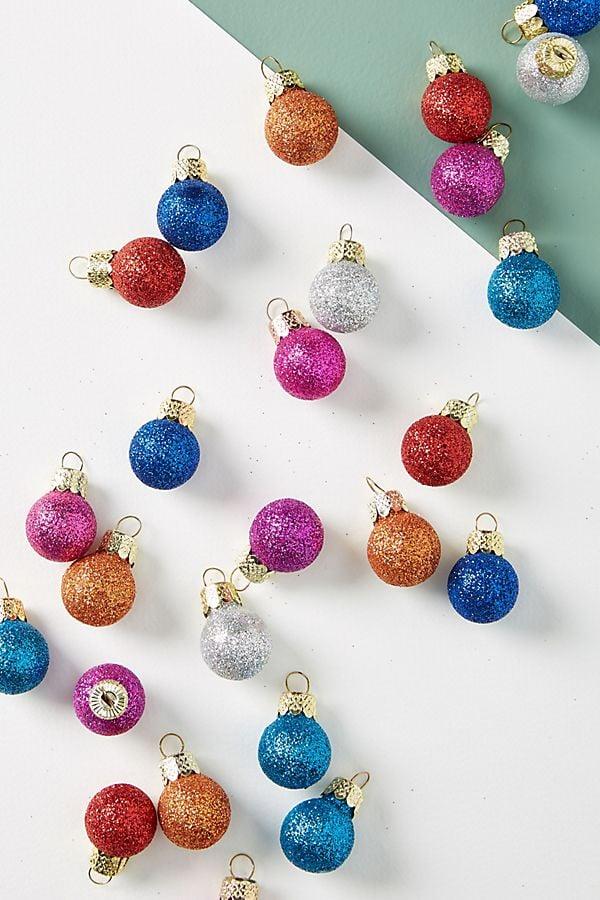 Miniature Glittered Ornaments, Set of 25