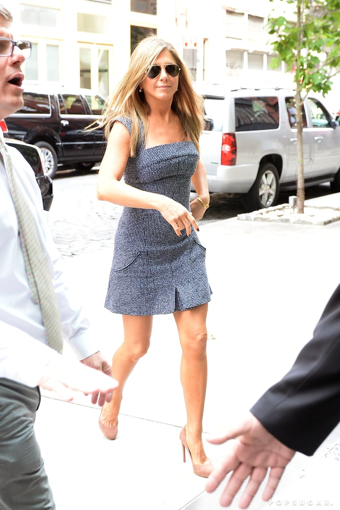 "Jennifer Aniston took advantage of her Saturday to run errands around NYC. She also took a break from filming to go shopping in the city on Saturday. Jen has been working on her newest project, Squirrels to the Nuts, over the past two weeks in the Big Apple. The movie also stars Owen Wilson and Kathryn Hahn, who were both spotted shooting a street scene in the city on Friday. When she isn't working on her new film, Jennifer has been spotted going on dates with her fiancé, Justin Theroux, who is also filming his own project, The Leftovers, in NYC.  In addition to her filming obligations, Jennifer is currently doing press for We're the Millers, her new film with Jason Sudeikis and Emma Roberts, which hits theaters on August 7. While doing an interview for the flick, Jennifer said that she ""already feels married"" to Justin, adding, ""We just want to [have the wedding] when it's perfect, and we're not rushed, and no one is rushing from a job or rushing to a job."" She also mentioned that they currently have no date set."
