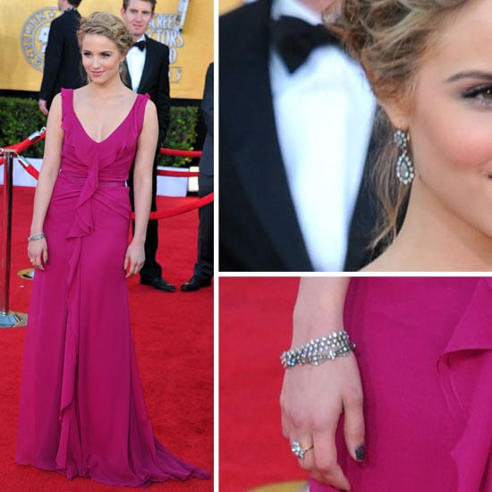 Glee Star Dianna Agron in Carolina Herrera Dress on the Red Carpet at the 2012 SAG Awards