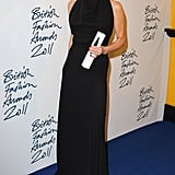 Victoria Beckham took a spin in the press room at the British Fashion Awards.