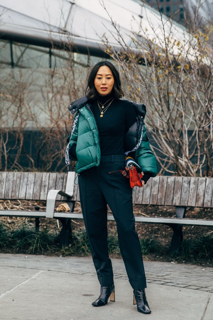 209e5c0b50a Style Your Black Ankle Boots With a Bright Green Puffer