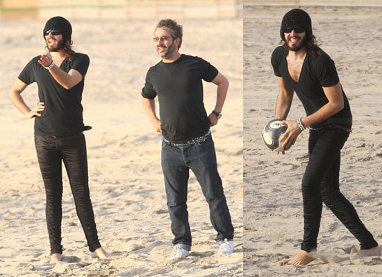 Photos of Russell Brand Playing Football on a Beach in LA with David Baddiel