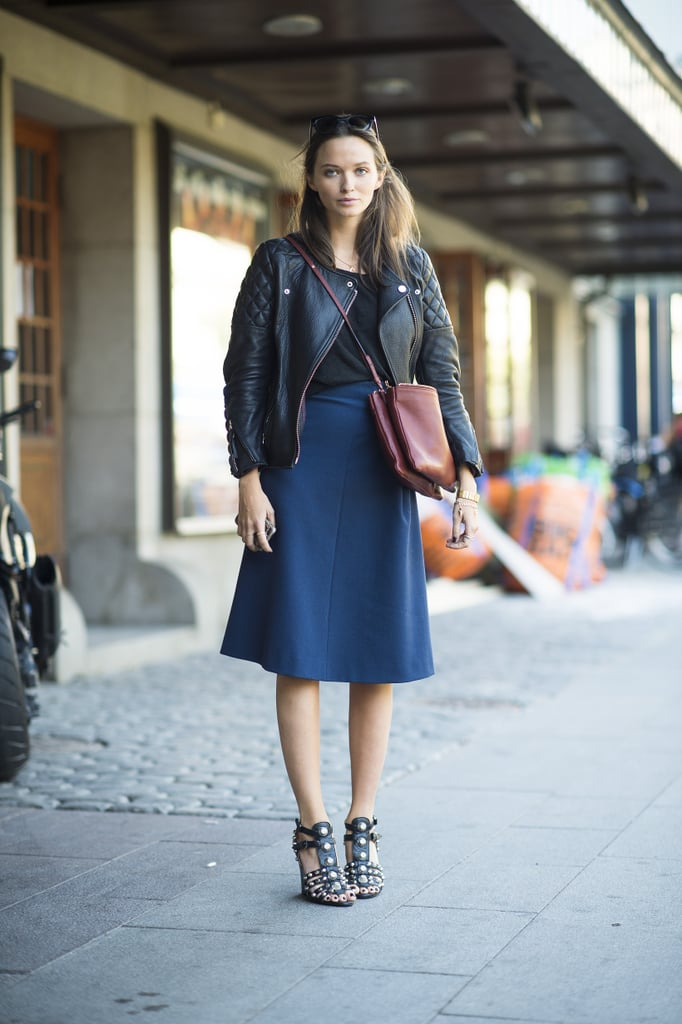 Slip into Fall with a ladylike midi skirt — then toughen it up with a leather jacket.  Source: Le 21ème | Adam Katz Sinding
