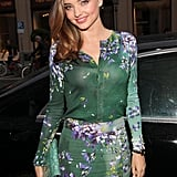 Miranda Kerr went floral for an event in Germany on Tuesday night.