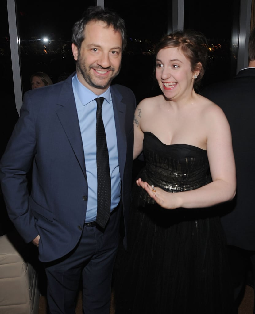 Judd Apatow and Lena Dunham at HBO's Girls premiere in NYC.