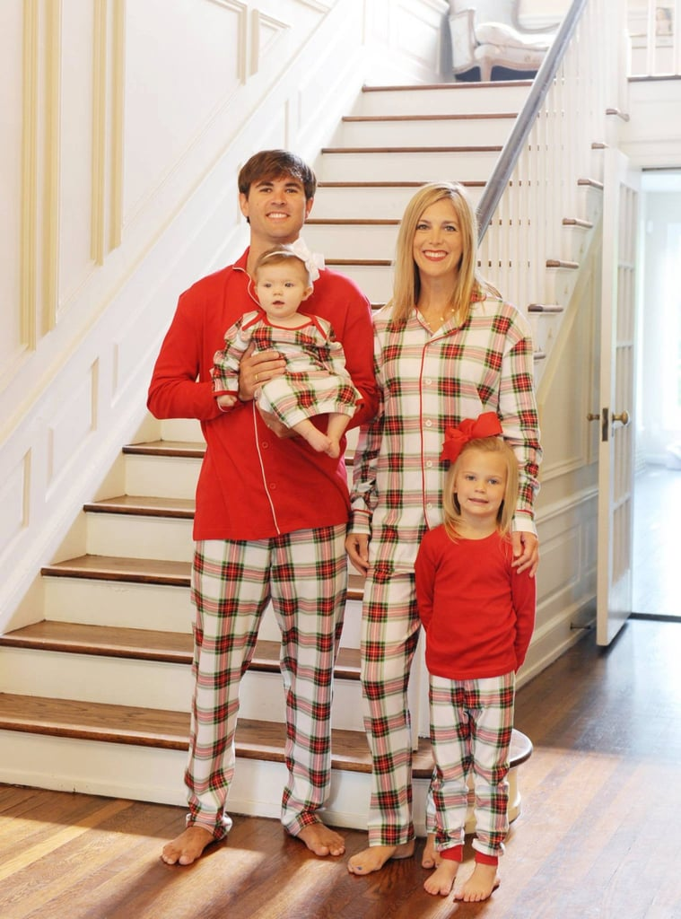 monogrammed tartan plaid matching family pajamas
