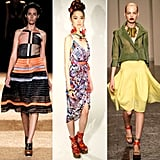 Designers played up their tribal-inspired Spring looks with wooden heels and baubles. They came in all shades, some featuring printed ribbons and colorful accents.  From left to right: Proenza Schouler, Mara Hoffman, and Donna Karan
