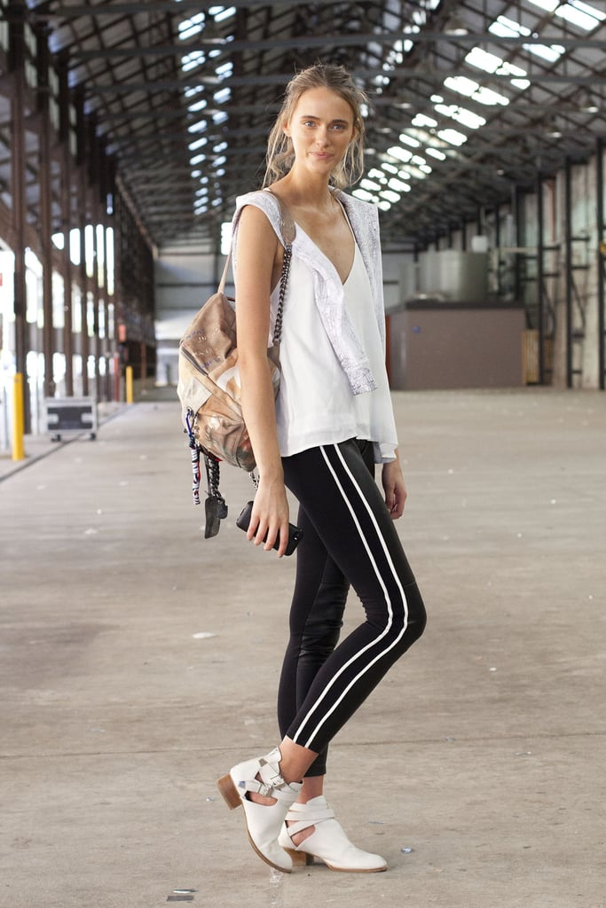 Black pants are totally Summer-appropriate with a light-as-air tank and cool-girl booties.
