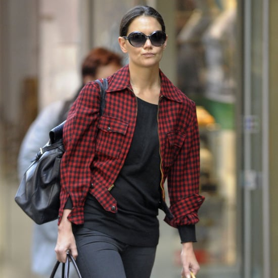 Katie Holmes Wearing Red Plaid Jacket | Pictures