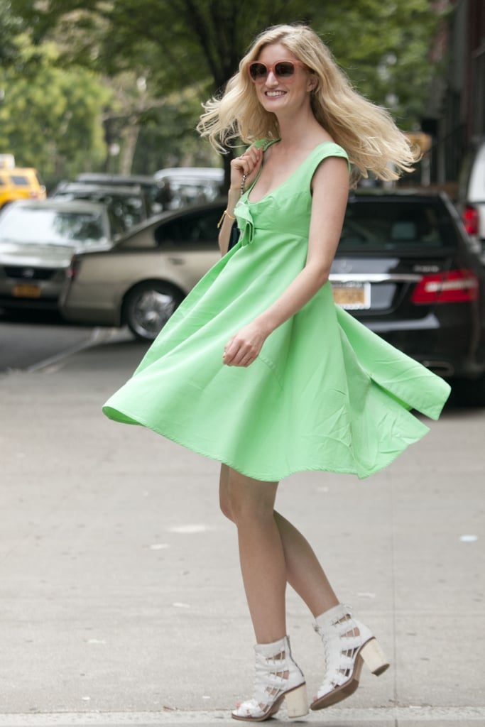 It doesn't get more picture perfect than Candice Lake in this little green dress.