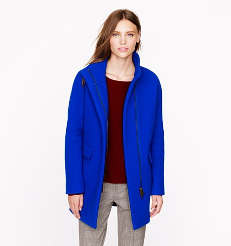 With this bright cobalt stadium cloth cocoon coat ($350) on, it will hardly matter what you have on underneath.