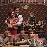 Isla Fisher as Myrtle Wilson, Joel Edgerton as Tom Buchanan, and Tobey Maguire as Nick Carraway in The Great Gatsby.